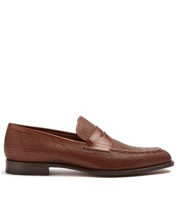 Woven-embossed Leather Loafers