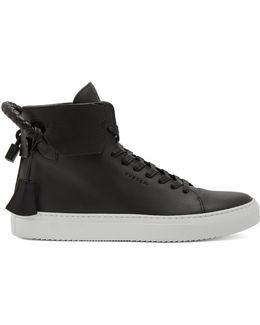 100mm Weave Leather High-top Trainers