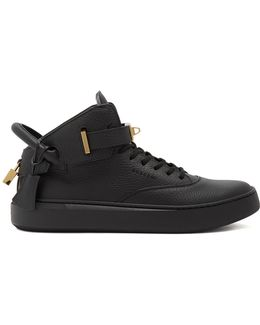 100mm Alce Grained-leather Mid-top Trainers