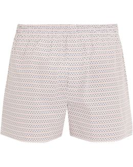 Loop-print Cotton Boxer Shorts
