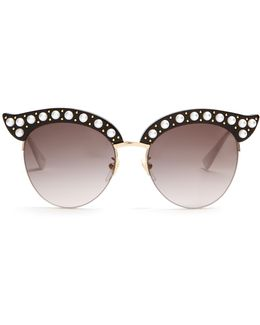 Cat-eye Pearl-embellished Metal Sunglasses