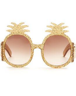 Embellished Pineapple Glitter-acetate Sunglasses