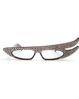 Embellished Rectangular-frame Acetate Glasses