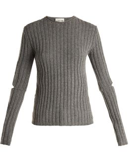 Cut-out Sleeve Ribbed-wool Sweater
