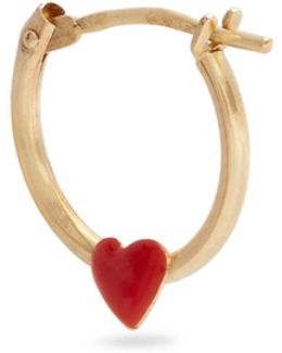 Enamel & Yellow-gold Heart Earring