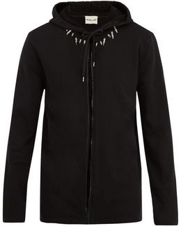 Spike-embellished Hooded Cotton Sweatshirt
