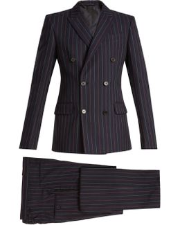 Striped Double-breasted Cotton Suit