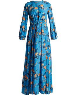 Floral-print Silk Maxi Dress
