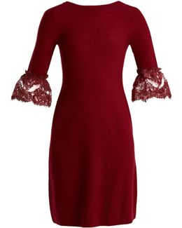 Scoop-back Fluted-cuff Wool Dress