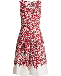 Graphic Leaves-print Stretch-cotton Dress