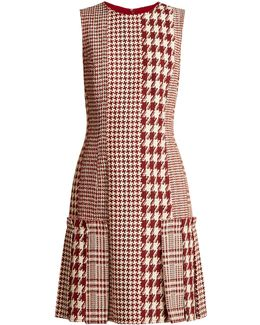 Sleeveless Patchwork Hound's-tooth And Tweed Dress