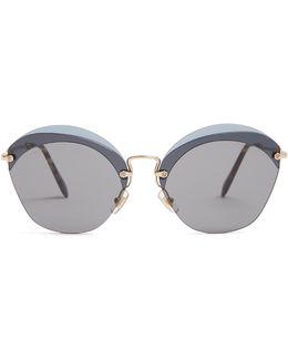 Cat-eye Frame Metal Sunglasses