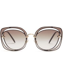 Oversized Cut-out Metal Sunglasses