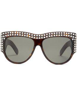 Crystal-encrusted Acetate Sunglasses
