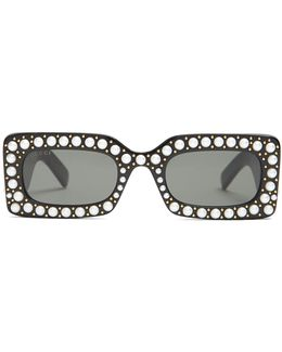 Faux-pearl Embellished Acetate Sunglasses
