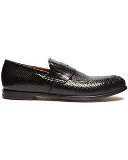 Church Python-effect Leather Loafers