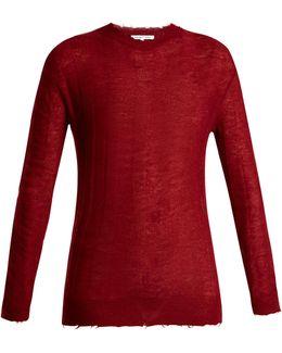 Raw-edge Loose-knit Top