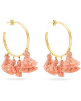 Raquel Gold-plated Tassel Hoop Earrings