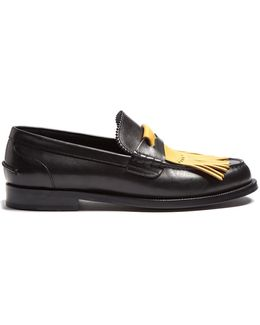 Contrast-fringed Leather Loafers