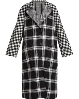 Checked Reversible Wool And Cashmere-blend Coat
