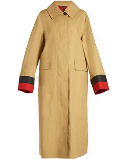 Point-collar Bonded-cotton Trench Coat