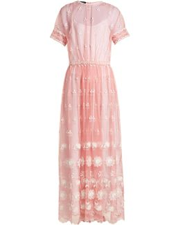 Round-neck Embroidered-tulle Dress