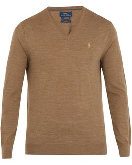 V-neck Logo-embroidered Wool Sweater