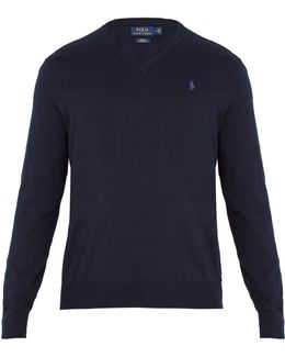 V-neck Logo-embroidered Cotton Sweater
