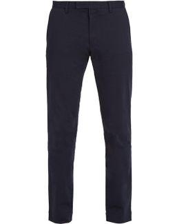 Slim-leg Cotton-blend Chino Trousers