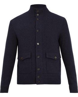 Contrast-sleeve Wool-blend Jacket