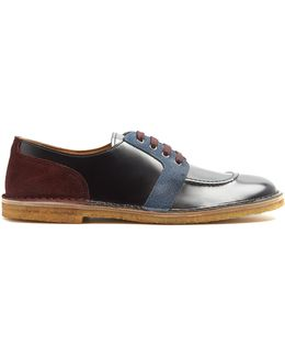 Contrast-panel Leather Derby Shoes