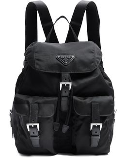 Small Leather-trimmed Nylon Backpack