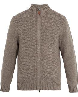 Moss Zip-through Wool Sweater