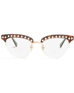 Cat-eye Faux-pearl Embellished Acetate Glasses