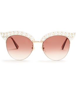 Cat-eye Faux-pearl Embellished Metal Sunglasses