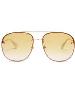 Glitter-embellished Aviator Sunglasses