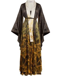 Anna Reversible Floral-print Stretch-silk Robe