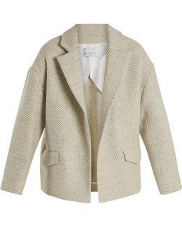 Cropped Herringbone-wool Blanket Coat