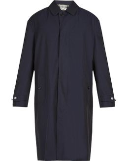 Point-collar Cotton-twill Trench Coat
