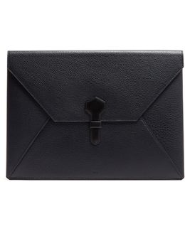 Boston Large Grained-leather Envelope Pouch