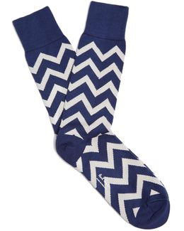 Chevron-print Cotton-blend Socks