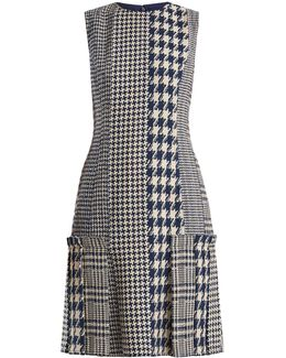 Round-neck Hound's-tooth And Tweed Dress