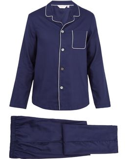 Lombard Geometric-jacquard Cotton Pyjama Set