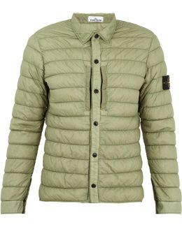 Point-collar Quilted Technical Jacket
