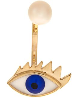 Gold, Pearl & Enamel Eye Single Earring