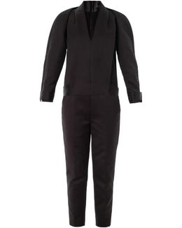 Compact Twill Tuxedo Jumpsuit