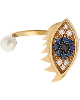 Diamond, Sapphire, Pearl & Gold Ring