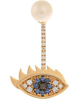 Diamond, Sapphire, Pearl & Yellow-gold Earring