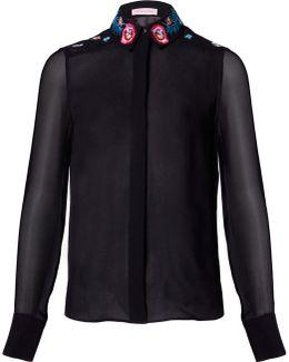 Black Floral Embroidered Silk Shirt