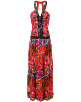 Red Maracas Montage Beaded Panel Gown